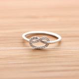 sterling silver, tiny HEART KNOT ring with crystals - girlsluv.it  - 2