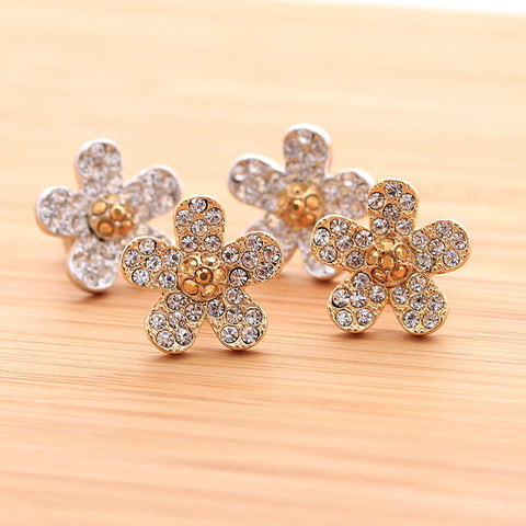 flower earrings, crystals - girlsluv.it