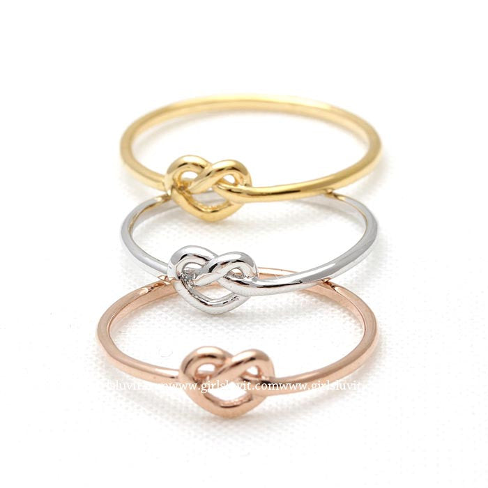 tiny HEART knot ring, 3 colors - girlsluv.it  - 1