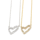 open heart necklace, crystals - girlsluv.it  - 1