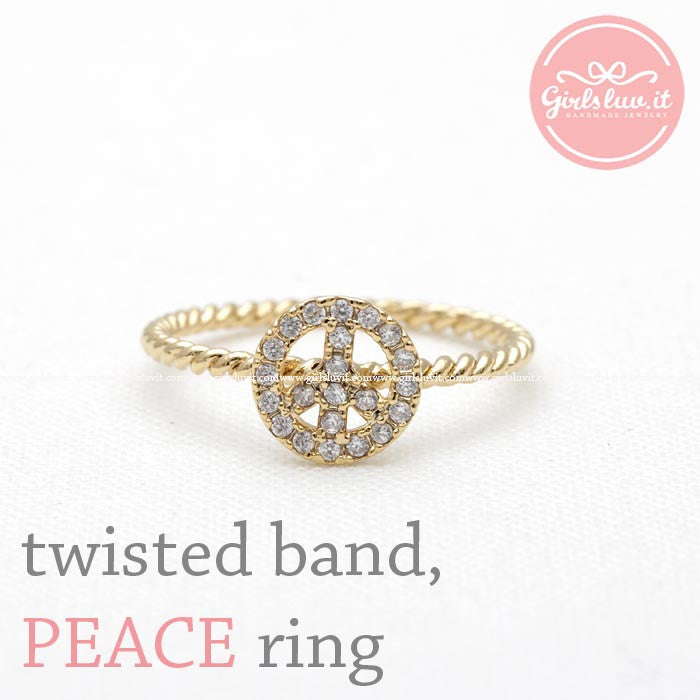 tiny crystals PEACE ring with twisted band - girlsluv.it  - 1