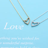 open heart necklace, crystals - girlsluv.it  - 3