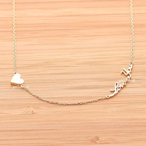 tiny heart and love you necklace - girlsluv.it  - 1