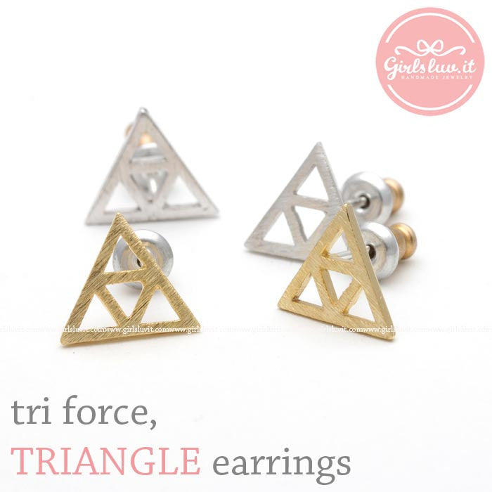 thin tri force, TRIANGLE stud earrings, 2 colors - girlsluv.it