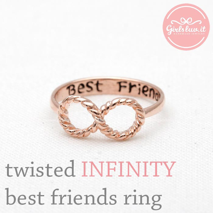 twisted INFINITY - best friends ring, in pinkgold - girlsluv.it