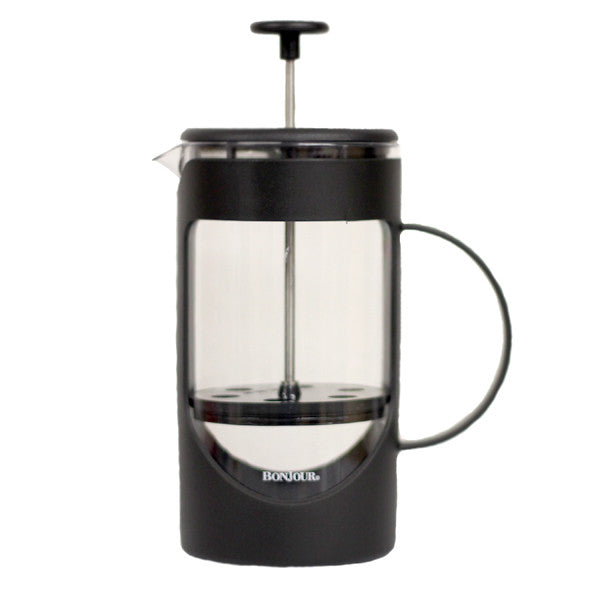 Black 8-cup capacity french press by Bonjour, for brewing loose leaf tea.