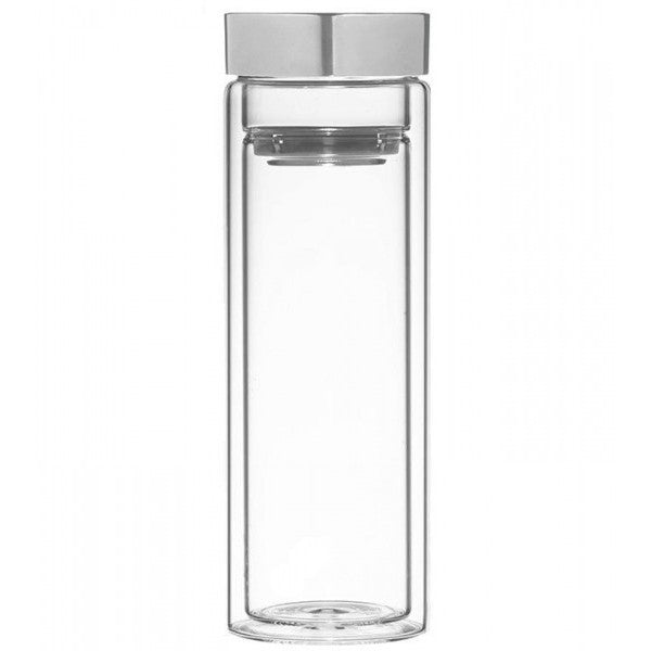 Maya Tea double wall glass tea infuser with tea