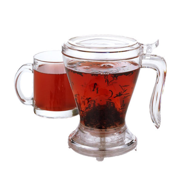 The Teaze Infuser brews loose leaf teas and dispenses them directly into your cup, straining as it pours.