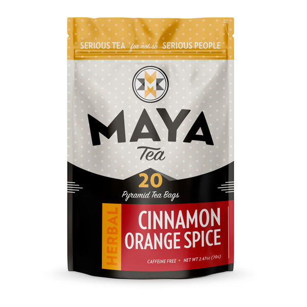 Cinnamon Orange Spice Rooibos is a non-caffeinated herbal red bush tea with orange peel and cinnamon chips for a warming herbal tea.