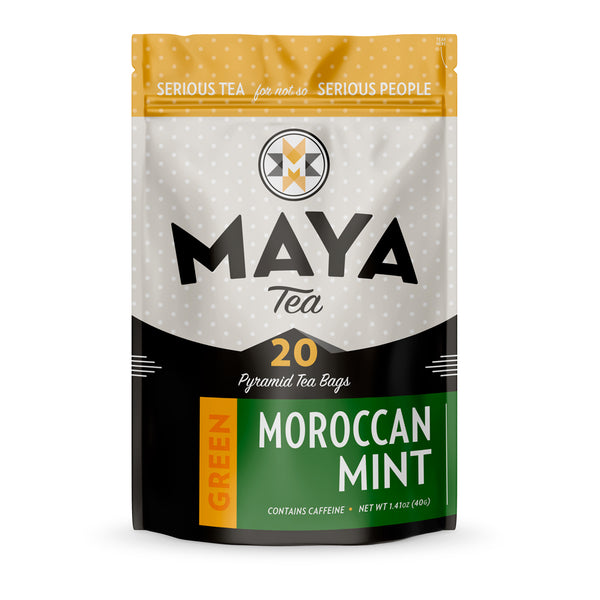 Moroccan mint is a traditional tea blend with peppermint and organic Chinese Gunpowder green tea, for a minty tea with a chocolate flavor.