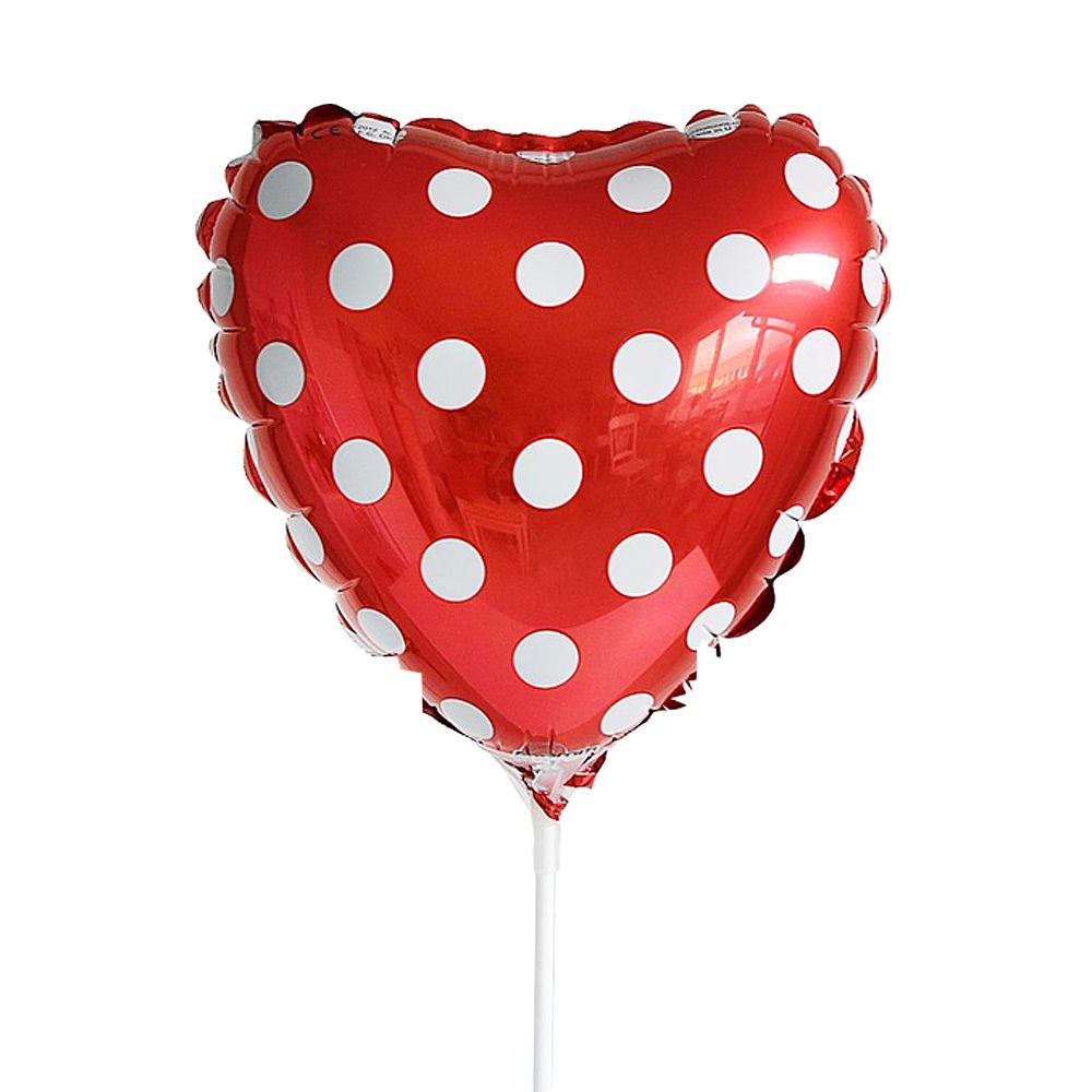 Polka Dot Mini Red Heart Balloon