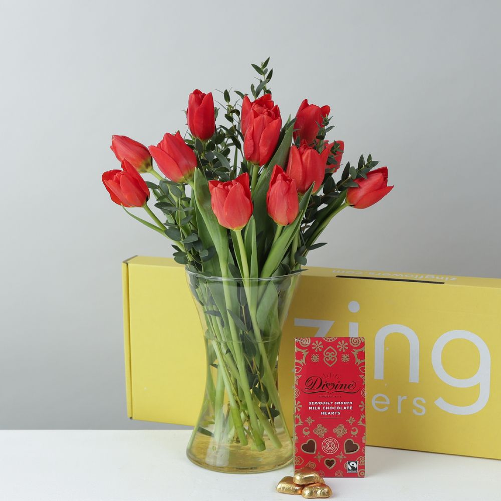 Lovely Letterbox Tulips with Fairtrade Divine Chocolates
