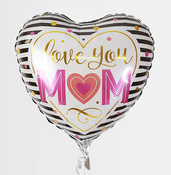 Love You Mum Stripey Heart Balloon