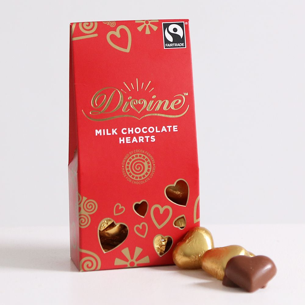 Fairtrade Divine milk chocolate hearts