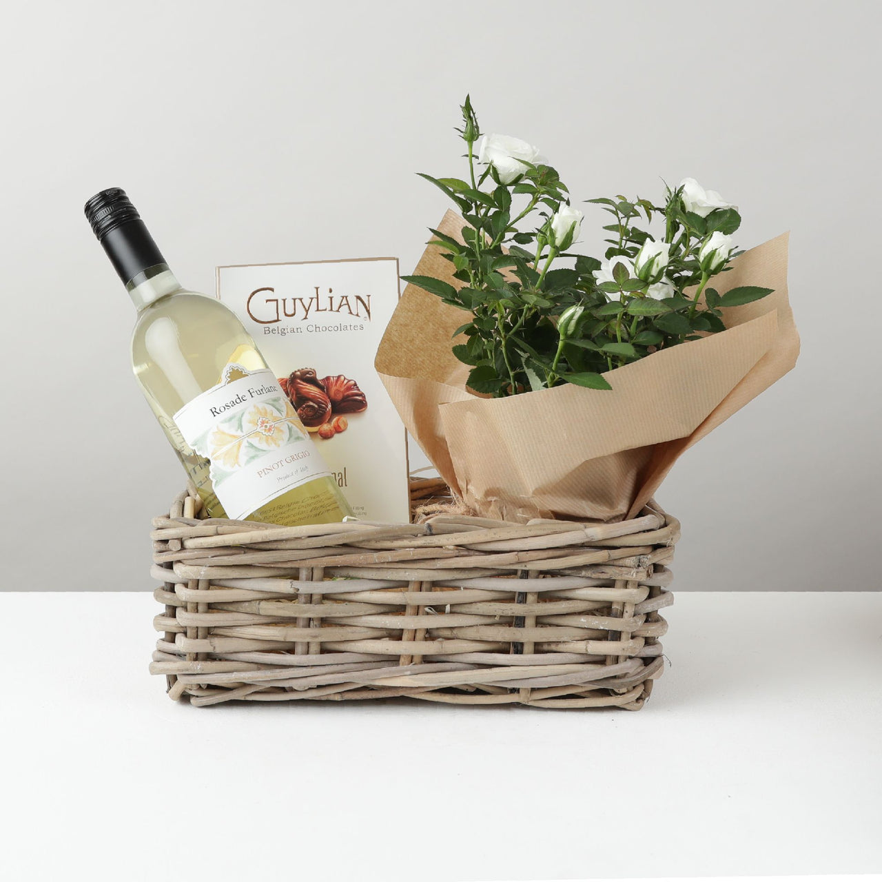 White Wine and Rose Plant Hamper