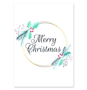 Merry Christmas Holly and Mistletoe Card