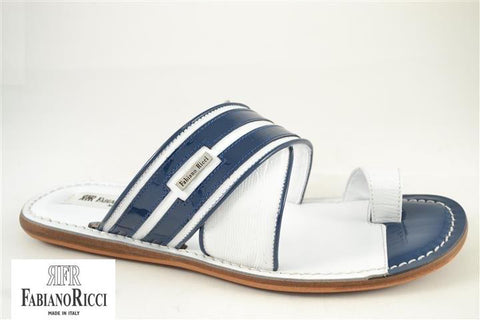 FABIANO RICCI - Striped round towline Sandals - White/Blue