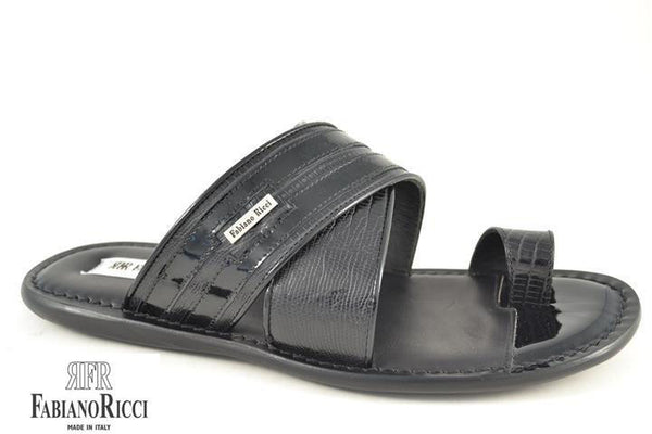FABIANO RICCI - Striped round towline Sandals - Black