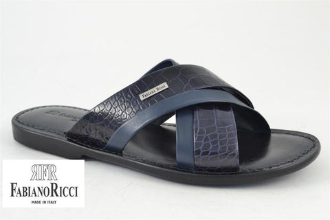 FABIANO RICCI - Cross open-toe Sandals - Black/Blue