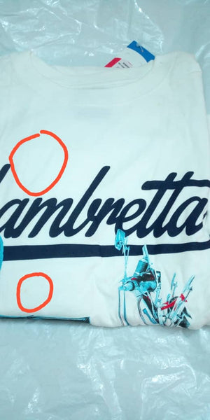 Lambretta Mens Retro Scooter Print T-Shirt - White