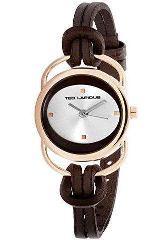 Ted Lapidus Women's Analog Quartz Watch with Brown Leather Strap