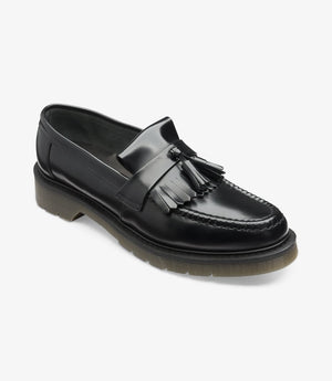 LOAKE 623- BLACK POLISHED LEATHER LOAFERS SHOE - Angle View