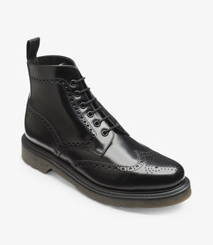 LOAKE 625- BLACK POLISHED LEATHER BOOT - Angle View