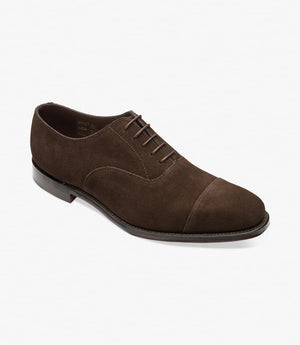 LOAKE Aldwych calf oxford shoe - Dark Brown Suede - Angle View