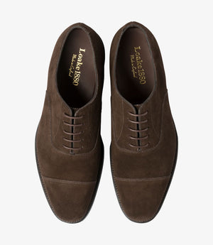 LOAKE Aldwych calf oxford shoe - Dark Brown Suede -Top View