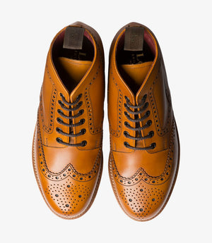 LOAKE ANNE- TAN BURNISHED CALF LADY'S  OXFORD BROGUE SHOE - Top View