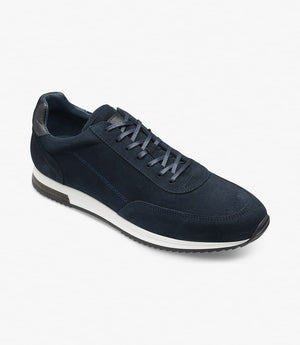 LOAKE  Bannister - Leather Sneakers - Navy Suede- Angle View