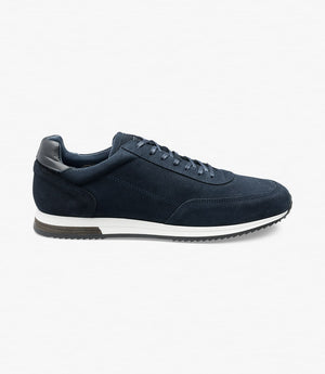 LOAKE  Bannister - Leather Sneakers - Navy Suede- Side View
