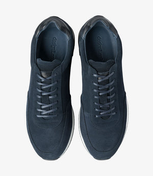 LOAKE  Bannister - Leather Sneakers - Navy Suede- Top View