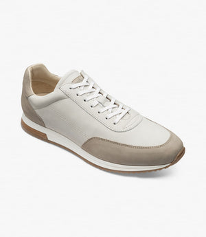 LOAKE  Bannister - Leather Sneakers -Stone Nubuck- Angle View