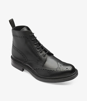 LOAKE Bedale Brogue Boot - Black Calf - Angle View
