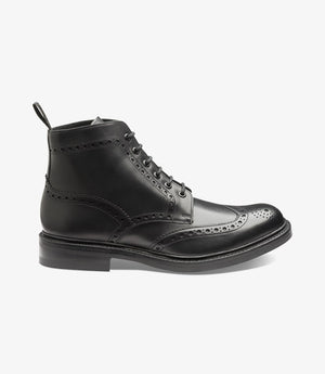 LOAKE Bedale Brogue Boot - Black Calf - Side View