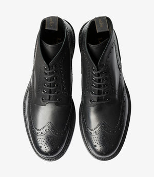 LOAKE Bedale Brogue Boot - Black Calf - Top View
