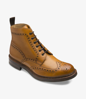 LOAKE Bedale Brogue Boot - Tan - Angle View