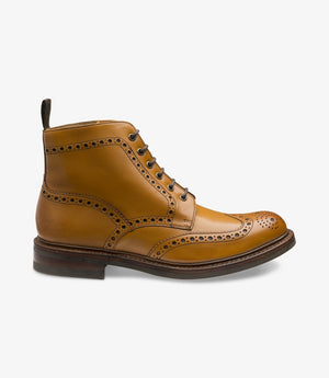 LOAKE Bedale Brogue Boot - Tan - Side View