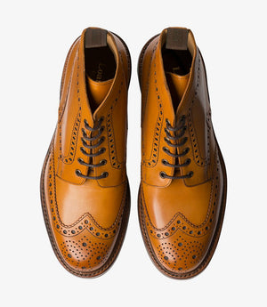 LOAKE Bedale Brogue Boot - Tan - Top View