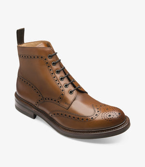 LOAKE Bedale Brogue Boot - Brown Calf - Angle View