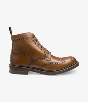 LOAKE Bedale Brogue Boot - Brown Calf - Side View