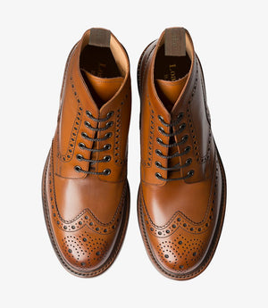 LOAKE Bedale Brogue Boot - Brown Calf - Top View