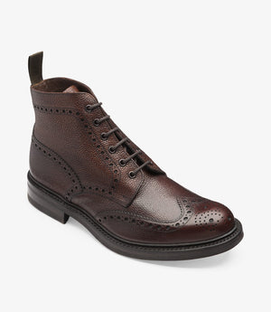 LOAKE Bedale Brogue Boot - Oxblood Grain Calf -Angle View