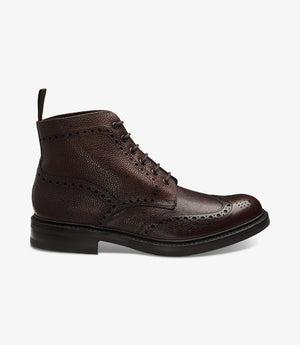 LOAKE Bedale Brogue Boot - Oxblood Grain Calf - Side View