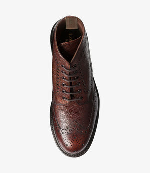 LOAKE Bedale Brogue Boot - Oxblood Grain Calf - Top View