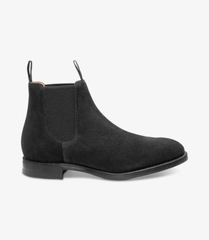LOAKE Chatsworth Chelsea Suede Boot - Black - Side View