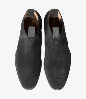 LOAKE Chatsworth Chelsea Suede Boot - Black - Front View