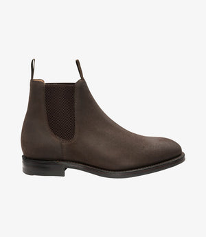 LOAKE Chatsworth Chelsea Suede Boot - Rusty Brown Waxy - Side Vie