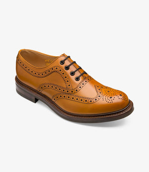 LOAKE Edward Brogue Shoe - Tan -Angle View